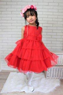 (DR077) レッドウェストコサージュ付ドレス