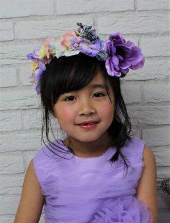 (HD010) ボリュームパープル、ピンク、イエロー花冠