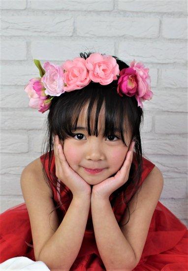 (HD005) ピンク×レッド(ホワイトリボン付)花冠