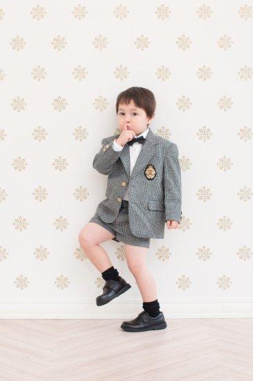 (BF092) ブラックグレーチェックジャケット×ハーフパンツ×チョウネクタイ×ホワイトシャツ