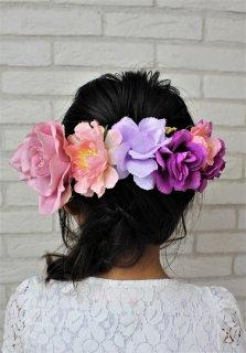 (HD015) ピンク×パープル花冠(ホワイトリボン付)前にも可能