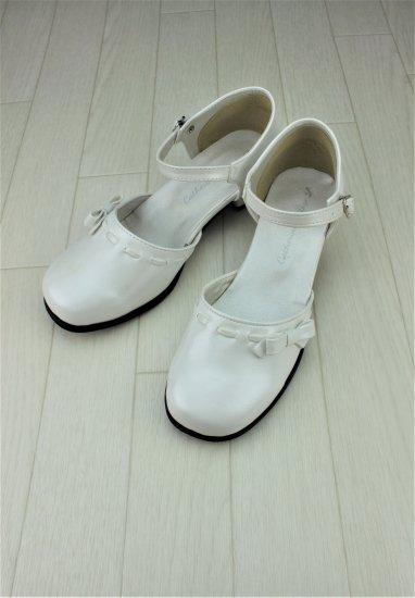 (SH007) ホワイト ミニリボンシューズ