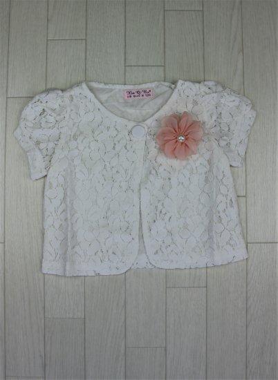 (B004) ホワイトレース半袖ボレロ(ピンク取外し可能コサージュ)