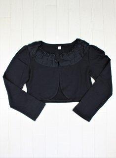 (B002) ブラック襟元フリル付き長袖ボレロ