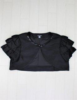 (B001) ブラック半袖ボレロ袖3段フリル