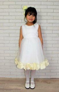 (DR065) ホワイトチュール裾イエローベージュコサージュドレス