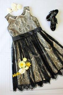 (DR121) ベージュ×ブラックフラワーレースドレス