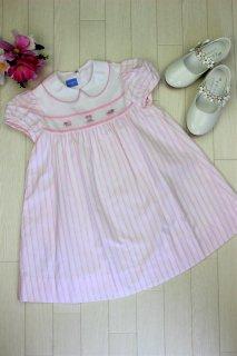 (DR063) ピンク半袖襟付きワンピ-ス
