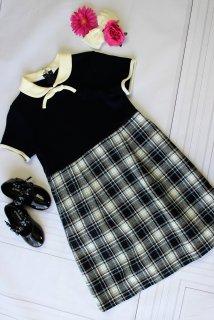 (GF119) ネイビー スカート部分チェック柄 リボン襟付きワンピース