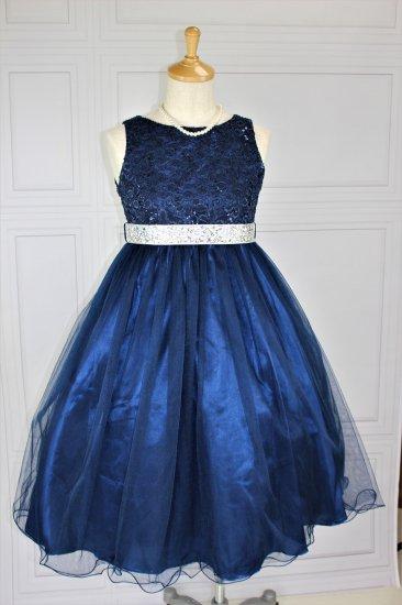 (DR128)  ネイビー ミモレ丈ドレス ビジューリボン付き