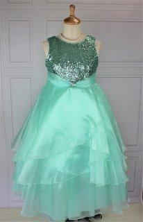 (DR131)  グリーン スパンコール ミモレ丈ドレス