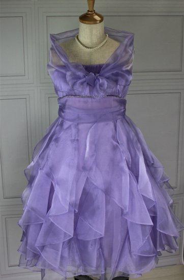 (DR132)  パープル ミモレ丈ドレス ストール付き