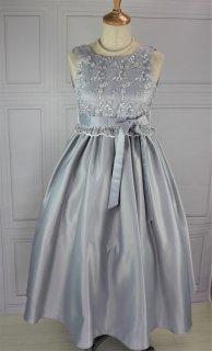 (DR104) シルバーxグレー ミモレ丈(ひざ下)ドレス