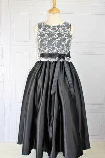 (DR105) ブラックxシルバーレース ミモレ丈(ひざ下)ドレス