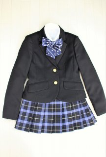 (GF139) ブラックジャケットxブルーチェックスカート スーツ