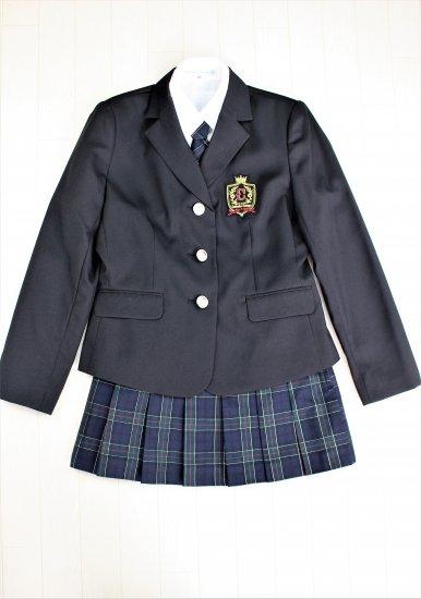 (GF137) ブラックジャケットxネイビー系チェック柄スカート スーツ