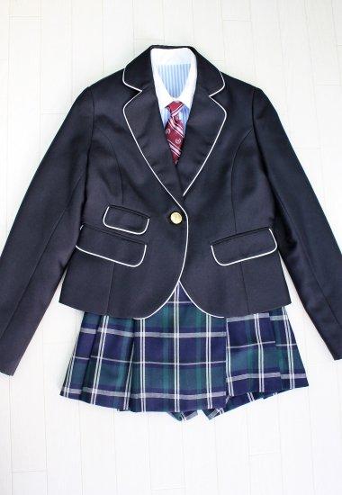 (GF090) ブラックジャケットxグリーン系チェック柄キュロットスカート スーツ