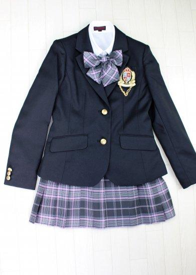 (GF140) ブラックジャケットxグレー系チェック柄スカート スーツ