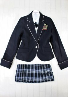 (GF055) ブラックジャケットxグレー系チェック柄スカート+ホワイトベスト スーツ