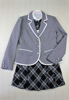 (GF138) ライトグレージャケットxブラック系チェック柄スカート スーツ