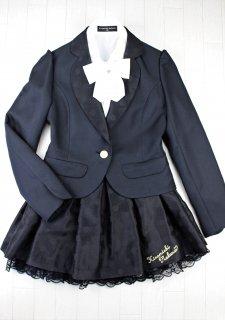 (GF136) ブラック ラブリースーツ ドット柄スカート