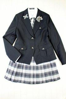 (GF098) ブラックジャケットxグレー系ボーダー柄スカート リボンバッジ付き スーツ
