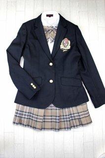 (GF141) ブラックジャケットxベージュ系チェック柄スカート スーツ