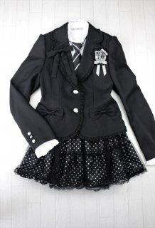 (GF021) ブラックスーツ ドット柄チュールレース付きスカート