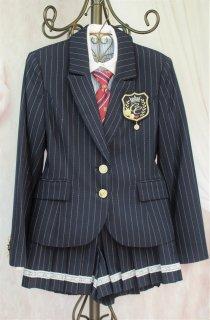 (GF043) ネイビー ストライプ柄スーツ キュロットスカート