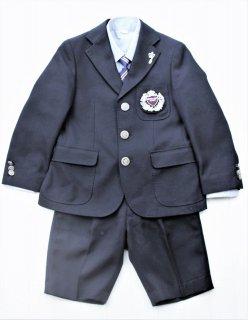 (BF086) ブラックスーツ グレーシャツ バッジ、ワッペン付き