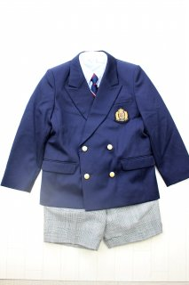 (BF087) ネイビージャケットxグレーパンツ 金ボタン ワッペン付き