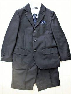 (BF089) ブラックスーツ ネイビー×イエロードットタイ チーフ付き