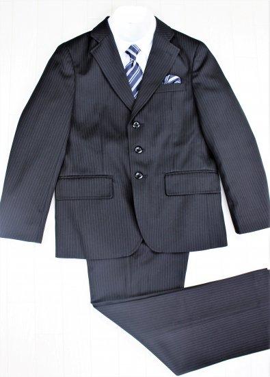 (BF134) ブラックスーツ ネイビーストライプタイ