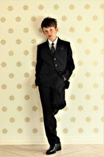 (BF040) 濃紺スーツ グリーン系タイ