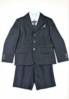 (BF145) ブラックスーツ 水色シャツ ドットタイ