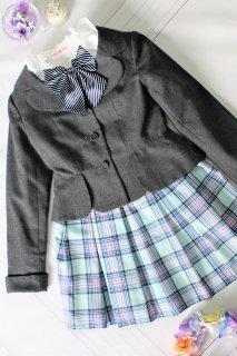 (GF084) グレージャケット 水色チェック柄スカート フォーマルスーツ