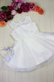 (DR156) 白ミニドレス 胸元シースルー レーススカート
