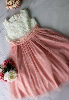(DR008) 白小花xピンクチュールドレス