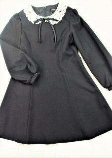 (DR012) ブラック 白襟長袖ワンピース