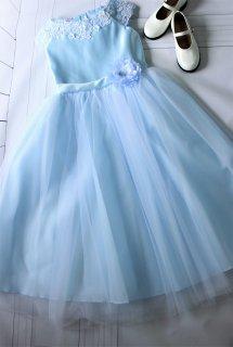(DR129) 水色フレンチスリーブドレス