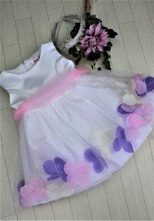 (DR024) ホワイト チュールバルーンスカート(フラワー入り)ドレス