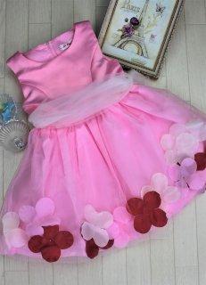 (DR027) ピンク チュールバルーンスカート(フラワー入り)ドレス