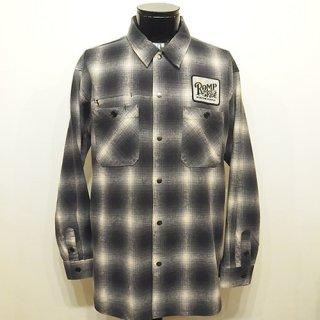 オンブレチェックネルシャツ -ROMP RIDE- 白x黒