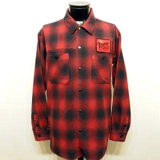 オンブレチェックネルシャツ -ROMP RIDE- 赤x黒