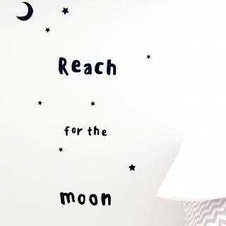 月と星のウォールステッカー