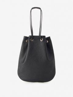 Cisei (シセイ) Drawstring Bag レザードローストリングバック 巾着 NERO (ブラック)