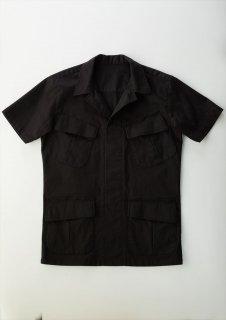 【ご予約】 1PIU1UGUALE3 (ウノピュウノウグァーレトレ) Vol.7 JUNGLE FATIGUE S/S SHIRT ミリタリーシャツ BLACK (ブラック)