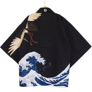 [Happi.Tokyo]オリジナルデザインはっぴ(法被)-大波柄#01 -Black-
