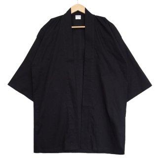[東京法被 / 帯セット]綿無地はっぴ(法被)- 黒 -Black- Cotton Plain Happi