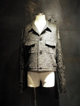 Woolly Herringbone Tweed  Far Sleeve Blouson